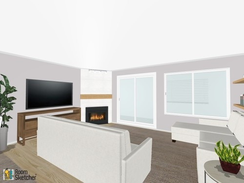 Living room layout corner fireplace sliding doors open space help for Awkward living room layout with corner fireplace