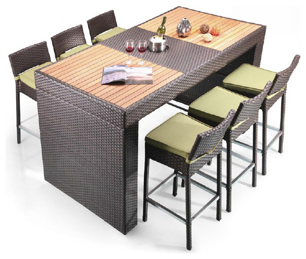 Pier Table And 6 Barstool Patio Bar Set Modern Outdoor Pub And
