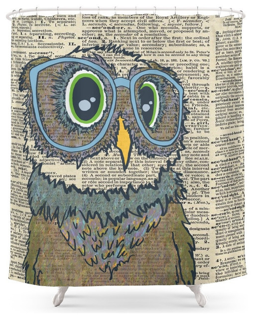 society6 owl wearing glasses shower curtain - contemporary