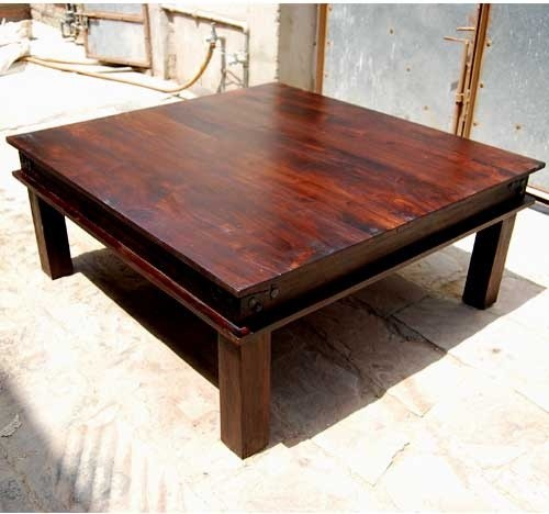 Solid Wood Coffee And End Tables For Sale: Solid Hardwood Large Square Cocktail Sofa Coffee Table