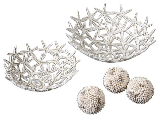 Starfish Decorative Bowls With Spheres 5 Piece Set Beach Style Decorative Bowls Other By Shopfreely Houzz