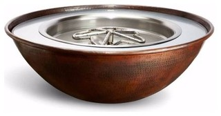 "24V Tempe 31""x11"" Round Copper Fire and Water Bowl, NG"