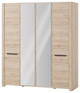 Desjo 4 Doors Wardrobe With Mirror Transitional