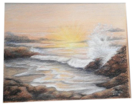 Drawing Ocean Sea Sunset Rocky Beach Waves Seascape Style Drawings