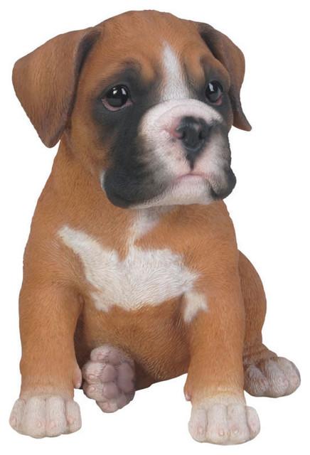 Realistic Boxer Puppy Dog Garden Statue