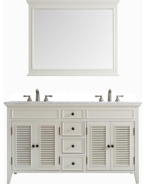 Piedmont 60 Double Vanity Carrara White Marble Top Antique With Mirror