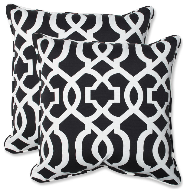 New Geo And White 18 5 Throw Pillow Contemporary Outdoor