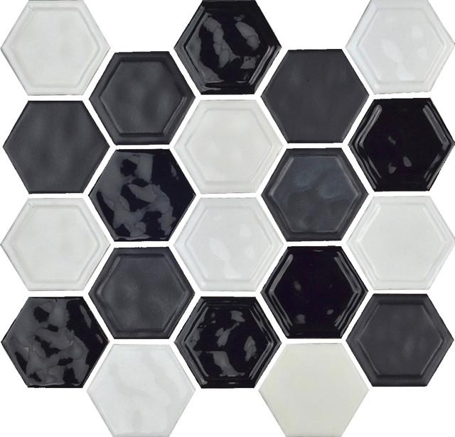 "12""x12"" Glazed Ceramic Hexagon Mosaic Tile, Black and White Blend"
