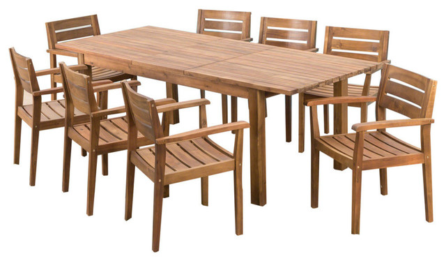 GDF Studio 9-Piece Sakura Outdoor Wood Dining Set With Expandable Dining Table