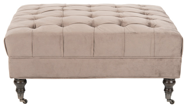 Clark Cocktail Tufted Ottoman, Mushroom Taupe
