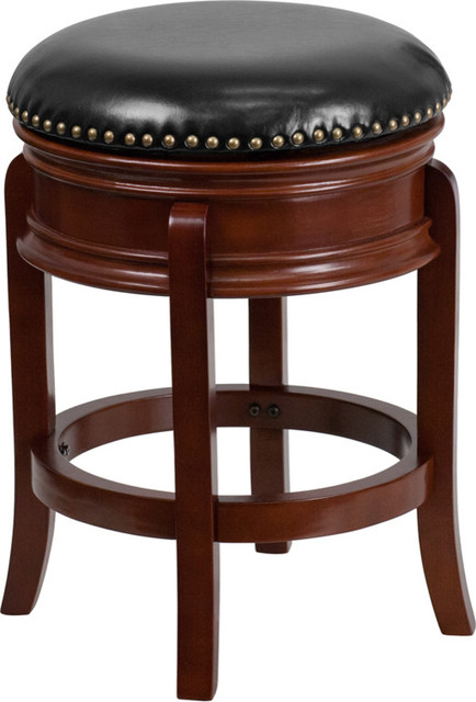 "Flash Furniture 24"" Leather Counter Stool, Black And Cherry."
