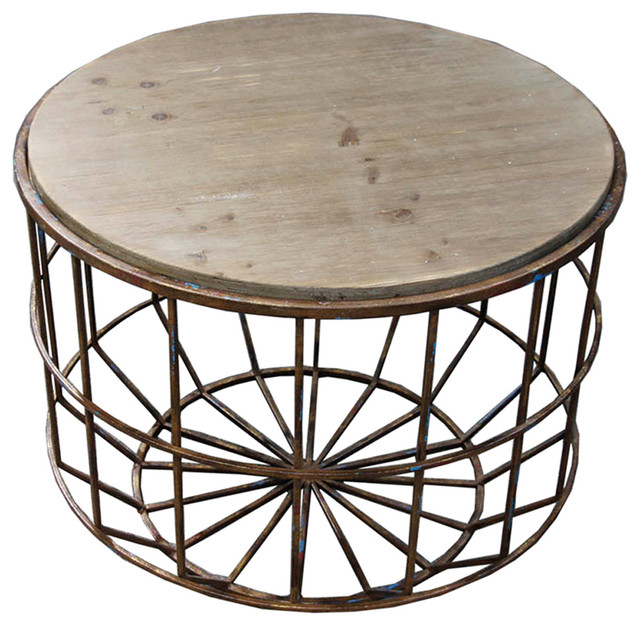 Koji Metal, Round Small Table, Brown Industrial Side Tables And