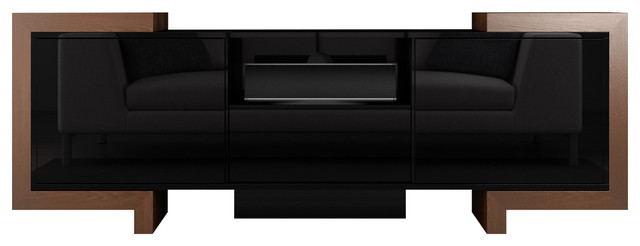 Francis Modern Media Console Tv Stand High Gloss Black Lacquer