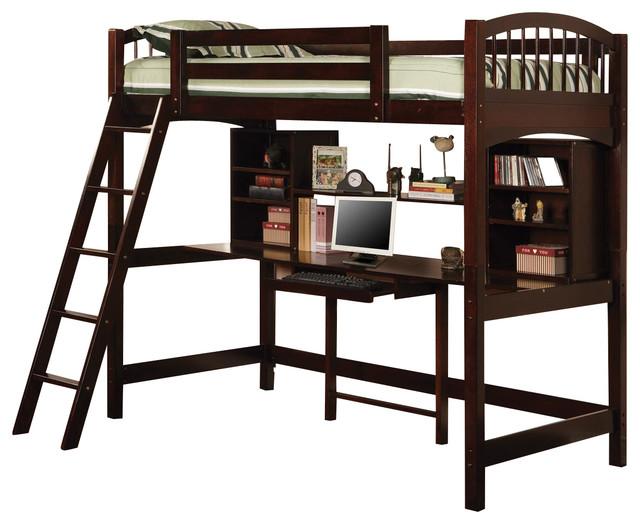 Oak/cappuccino Casual Twin Workstation Loft Bunk With Ladder Shelf.