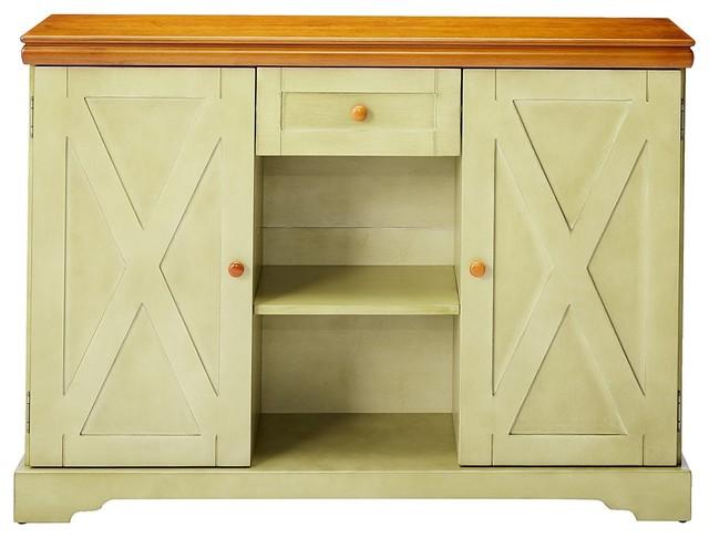 Cavalleri Buffet Cabinet, White And Walnut.