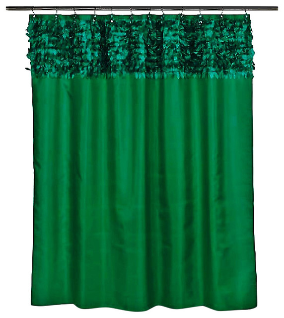 Emerald green grommet fabric leaves shower curtain for Emerald green bathroom accessories