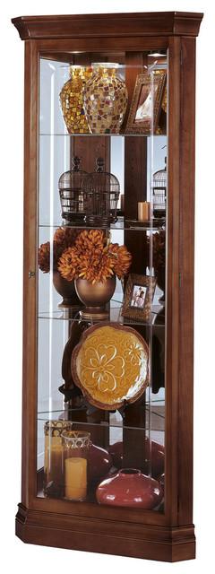 Howard Miller Lynwood Corner Display Curio Cabinet, Windsor Cherry
