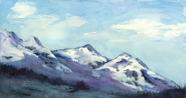 Original Art Mountain Peaks Landscape Watercolour Painting.