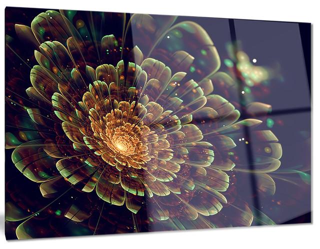 orange metallic fractal flower metal wall art tropical. Black Bedroom Furniture Sets. Home Design Ideas