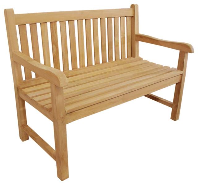 2 Seater Teak Wooden Garden Bench Backless Furniture Seat Indoor Outdoor Natural