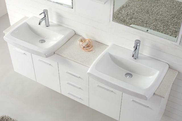 Bathroom Sinks Double Basin roma 1800 double basin white vanity