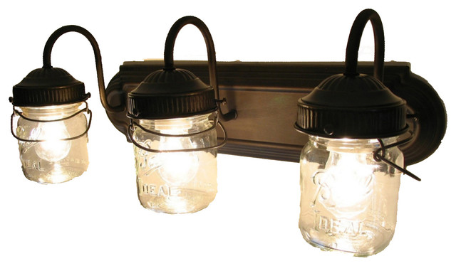 Bathroom Vanity Mason Jar Light bathroom vanity bar trio light fixture of pint mason jars