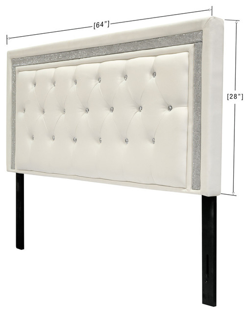 Faux Leather Upholstered Headboard Tufted Crystals Rhinestone White Twin