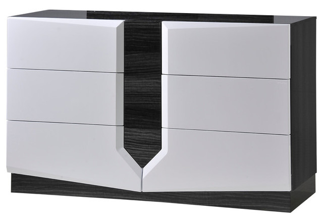 Delightful Global Furniture Dresser, Zebra Gray And White High Gloss Transitional  Dressers