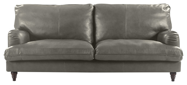 Classic Victorian Style Real Leather 3-Seater Sofa, Brown, Gray.