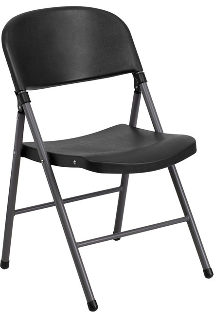 Flash Furniture Hercules Series 330 lb Capacity Black Plastic Folding Chair