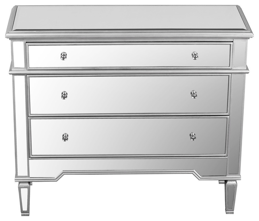 Mirrored 3 Drawer Accent Chest Transitional Accent Chests And