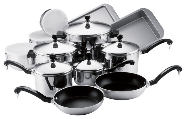 Farberware Classic Stainless Steel 17-Piece Cookware Set.