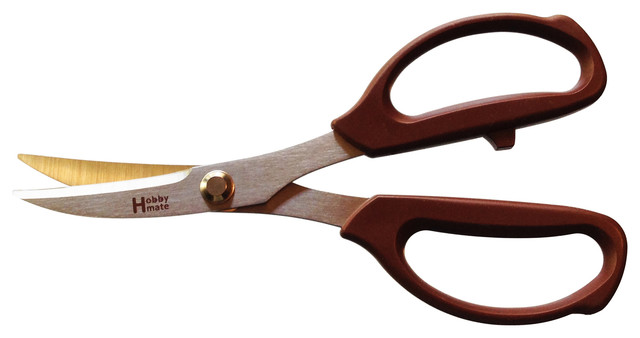 Hobby Mate Scissors With Leather Cut With Brown Handle Contemporary Kitchen  Shears