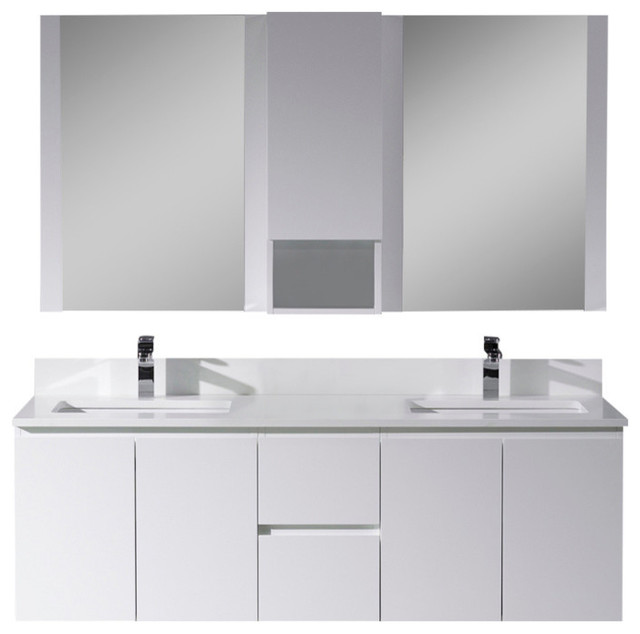 "Monaco 60"" Double Wall Mount Vanity With Mirror and Wall Cabinet, Matte White - Contemporary ..."