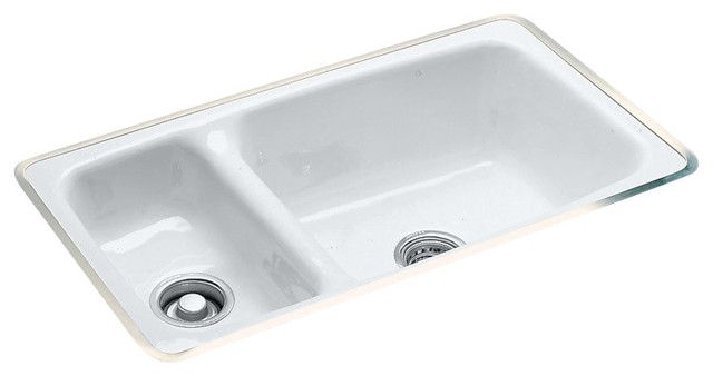 High-Low Double Bowl - Easy Install No Hole Undermount.