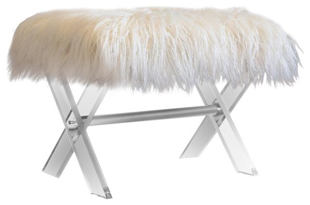 Cassandra Faux Fur X-Leg Ottoman Bench, Acrylic, White.
