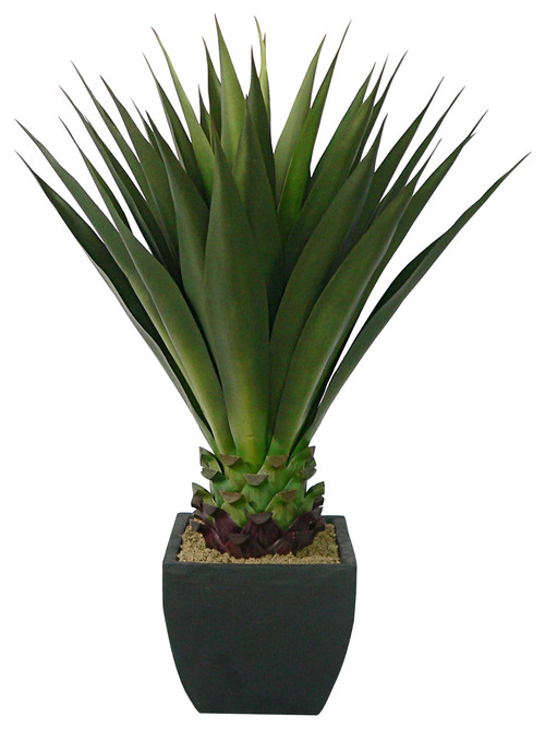 "43"" Tall High End Realistic Silk Giant Aloe Plant With Contemporary Planter"