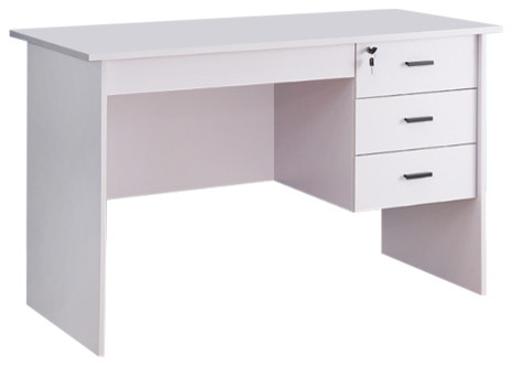 Office Desk With Three Locking Drawers, White.