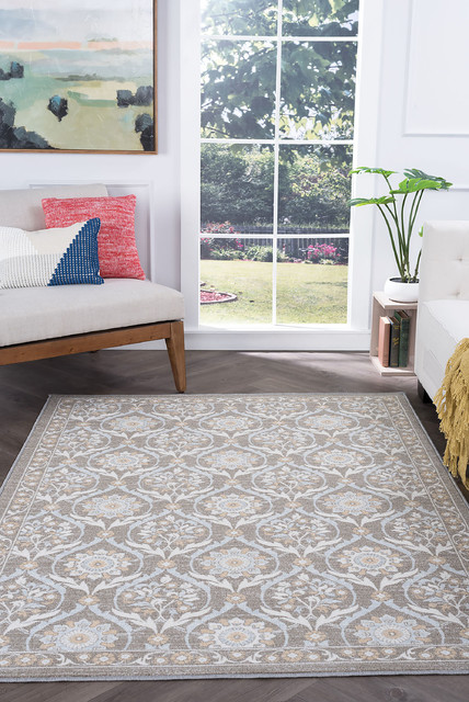 Robina Transitional Floral Taupe Non-Skid Rectangle Area Rug, 7.6' x 10'