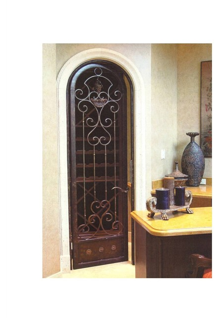 wrought iron wine cellar arched door mediterranean interior doors miami by