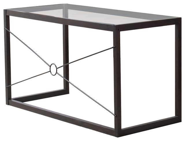 Newell Wood And Glass Desk, 54 In..