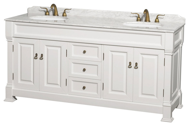 """Andover 72"""" Double Bathroom Vanity in White, Top, Oval ..."""