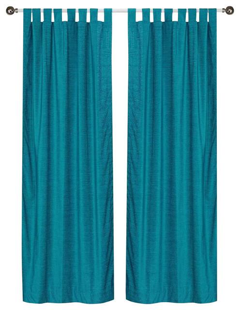 Lined, Turquoise Tab Top Velvet Curtain Drape Panel, 43wx96l, Piece.