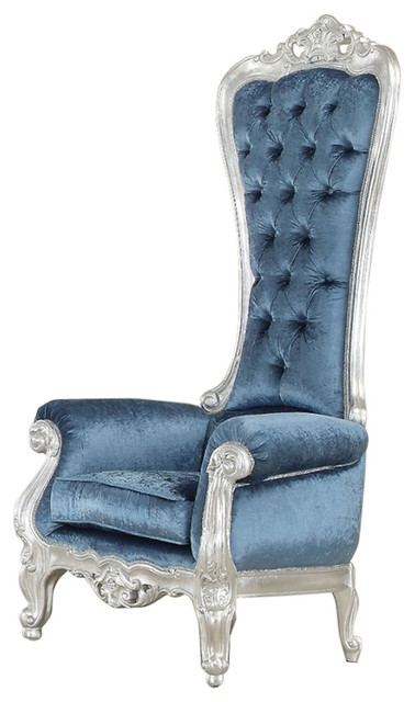 Adorning Accent Chair With High Back Silver And Blue