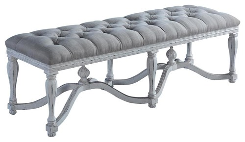 Bed Bench King Henry White Ornate Wood