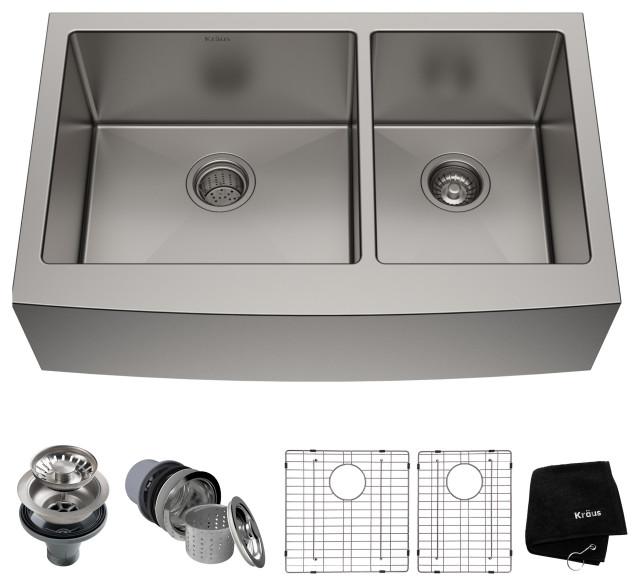 """36"""" Farmhouse Apron Stainless Steel Kitchen Sink, Double 60/40 Bowl"""