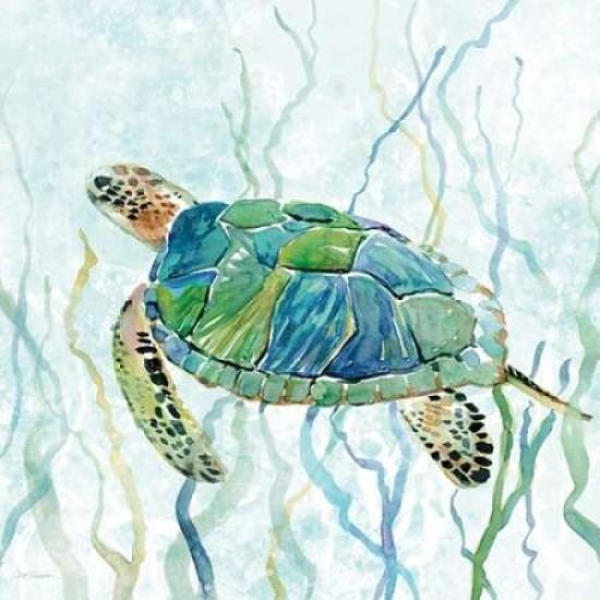 Sea Turtle Swim Ii Poster Print By Carol Robinson (12 X 12).