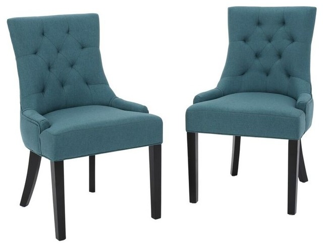 Stacy Fabric Diamond Tufted Back Dining Chairs, Set Of 2, Dark Teal  Transitional