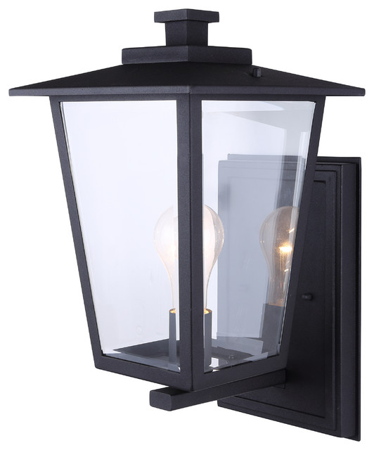 Canarm Carlotta 16 1-Light Outdoor-Light With Clear Glass, Black, Easy Connect.