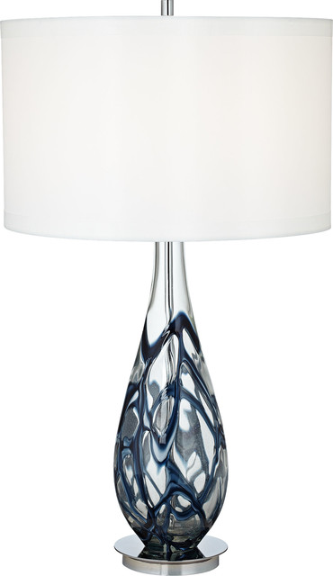 Indigo Swirl Art Glass Lamp, Blue.